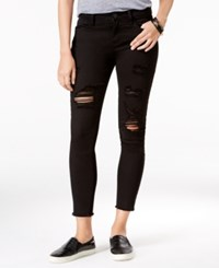 Tinseltown Juniors' Ripped Cropped Skinny Jeans Black