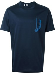 Brioni Chest Logo Print Long Fit T Shirt Blue