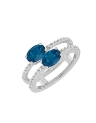Lord And Taylor Blue White Topaz Sterling Silver Ring White Gold