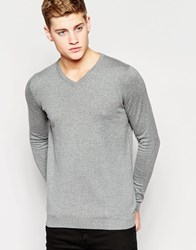 Jack And Jones Jack And Jones Premium V Neck Knitted Jumper Grey