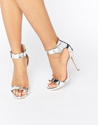 Truffle Collection 2 Part Heeled Sandals Silver