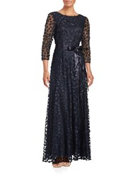 Tahari By Arthur S. Levine Belted Floral Applique Gown Navy