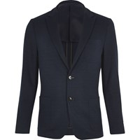 Vito River Island Mens Dark Blue Textured Blazer