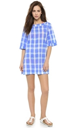 Marc By Marc Jacobs Gingham Lawn Cover Up Dress Conch Blue Multi