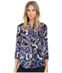 Nydj 3 4 Sleeve Pleat Back Butterfly Print Women's Blouse Multi