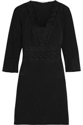 Vanessa Bruno Flirt Lace Paneled Silk Mini Dress Black