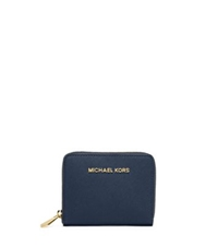 Michael Kors Jet Set Travel Medium Zip Around Saffiano Leather Wallet Navy