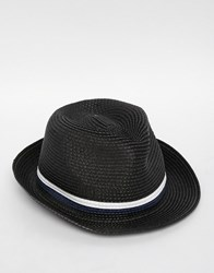 French Connection Straw Trilby Blue