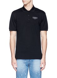 Givenchy Leather Logo Patch Polo Shirt Black