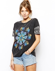 Asos T Shirt In Acid Wash With Henna Elephant Print Grey