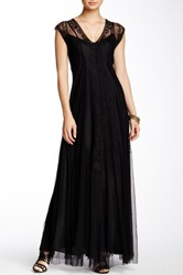 Biya Lace And Silk Maxi Dress Black