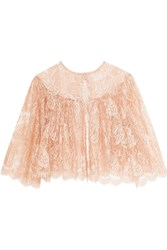 I.D. Sarrieri Passiflora Chantilly Lace And Tulle Bed Jacket Peach
