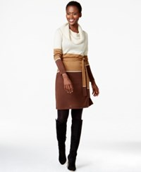 Ny Collection Belted Cowl Neck Colorblock Sweater Dress