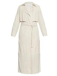 Raey Long Line Suede Trench Coat Ivory