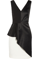 Halston Crepe And Satin Peplum Dress Black
