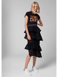 House Of Holland Flocked Layered Skirt Black