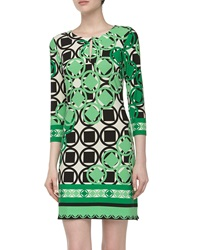 Ali Ro Three Quarter Geometric Print Stretch Knit Dress Spring Green
