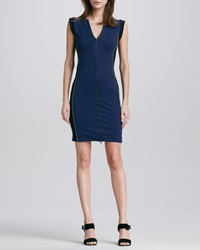 Halston Heritage Colorblock Front Zip Ponte Dress 12