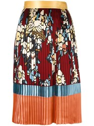 Dsquared2 'Cherry Blossom' Pleated Mid Length Skirt