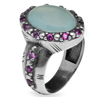 Platadepalo Silver Ring With Chalcedony Blue Silver