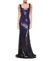 Donna Karan Sleeveless Ombre Sequin Gown Dark Purple