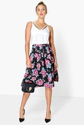 Boohoo Large Floral Box Pleat Skater Skirt Multi