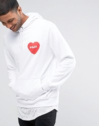 Poler Hoodie With Small Heart Logo White