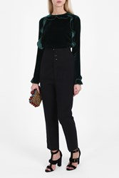 Rochas Velvet Ruffle Top Green