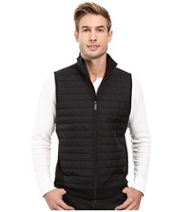 Perry Ellis Quilted Mix Media Knit Jacket Black Men's Vest