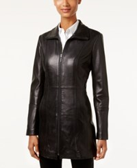 Anne Klein Mid Length Leather Coat Black
