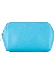 Furla Zip Around Makeup Bag Blue
