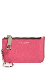 Women's Marc Jacobs 'Gotham' Pebbled Leather Key Pouch Pink Begonia