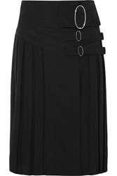Tod's Wrap Effect Pleated Crepe De Chine Skirt Black