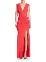 Abs By Allen Schwartz V Neck Ruched Jersey Gown Red