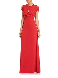 Yigal Azrouel Floral Lace Silk Gown Carmine