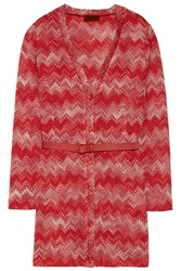 Missoni Belted Crochet Knit Cardigan Red