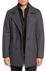 Marc New York Men's Big And Tall By Andrew Cheshire Peacoat With Bib Charcoal