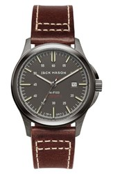 Jack Mason Brand Men's Automatic Leather Strap Watch 42Mm Gunmetal Grey Brown