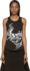 Alexander Mcqueen Black Skull And Koi Fish Tank Top