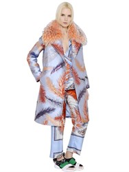 Emilio Pucci Feathers Jacquard Coat With Fur Collar