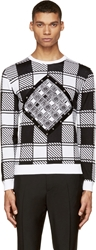 Versace Black And White Geometric Print Studded Sweater