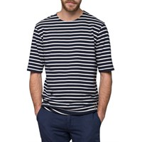 Wood Wood Navy Off White Stripe T Shirt Blue