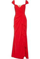 Badgley Mischka Ruffled Silk Chiffon Gown Red
