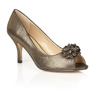 Lotus Quill Peep Toe Courts Gold