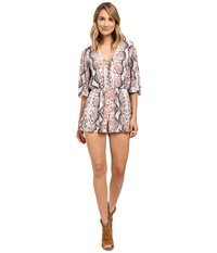 Lovers Friends Epiphany Romper Dusty Python Women's Jumpsuit And Rompers One Piece Metallic