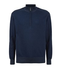 Barbour Cotton Cashmere Zip Neck Sweater Male Navy