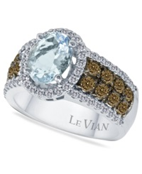 Le Vian Aquamarine 1 3 8 Ct. T.W. And Diamond 3 4 Ct. T.W. In 14K White Gold