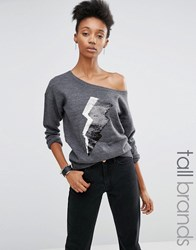 Noisy May Tall One Shoulder Knitted Sweat With Sequin Lightning Motif Grey