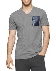 Calvin Klein Solid Foil Pocket V Neck Tee Grey