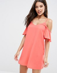 Lipsy Cold Shoulder Mini Dress Coral Red